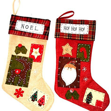 Christmas Decoration Patchwork Stocking Sanata Claus and Reindeer - 2 Pieces Per Package