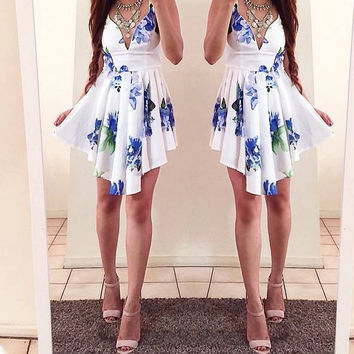 Sexy printed sleeveless Shoulder straps dress 551466