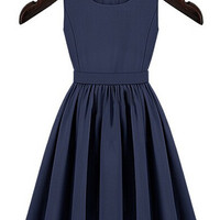 Blue Sleeveless Buttoned Cut-Out  Back Pleated Mini Dress