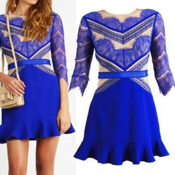 Free shipping 2015 new fashion hot style five sleeves lace dresses blue long sleeves lace three floor dresses