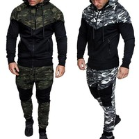 Men 2Pcs Tracksuit Sportswear Hoodies Sweatshirt