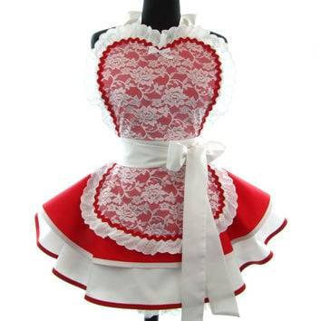 Retro Apron - Spicy French Maid Sexy Womans Aprons - Vintage Apron Style - French Maid Pin up Bridal Lace Rockabilly Cosplay