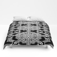 Mandala: Black Gray White Flowers Comforters by SimplyChic