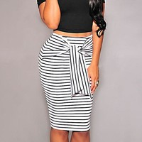 Summer Sexy Slim Bodycon Pencil Skirts Women Lady Striped Skirt Female Knee-Length Bandage Skirt White Black KH965809