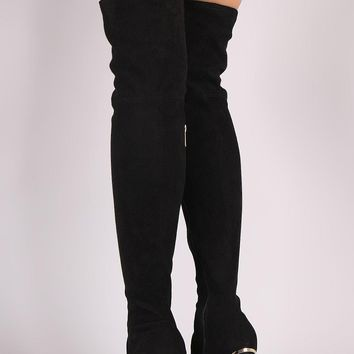 Bamboo Stretched Suede Caged Chunky Heeled OTK Boots