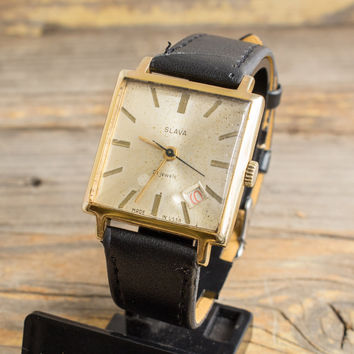Vintage Slava mens watch with date window gold plated russian watch ussr ccp soviet watch