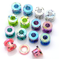 "PiercingJ 14pcs Mixed Colors Punk Acrylic Screw Tunnel Stretcher Ear Stretching Kit 12g 8g 6g 4g 2g 0g 00g 1/2"" Gauge"