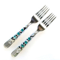 Design Your Own Beaded Forks (2) - CUSTOM COLORS AVAILABLE - Ivory or white pearl available