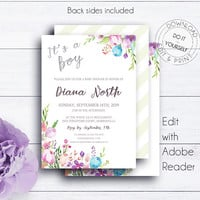 It's a Boy Baby Shower Invite, Printable Invite, Boho Baby Shower, Boy Baby Shower, Newborn Watercolor, Baby Boy Floral, Baby Brunch