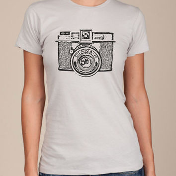 Diana CAMERA Women's Silver american apparel Tshirt by happyfamily