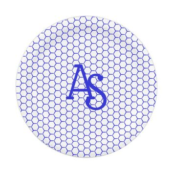 Blue pattern. Hexagonal grid. Monogram. Paper Plate