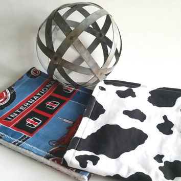 Farm Burp Cloth Set - Tractor Burp Rag - Cow Burping Cloth - Farming Baby Items - Country Baby Set - Baby Cow Items - International Baby Rag