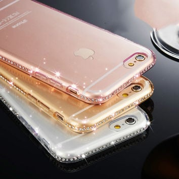 New Luxury CZ Diamond Crystal Frame Soft TPU High Quality Phone Back Cover Phone Case For Iphone 6 6S 6Plus 6S Plus YC1257