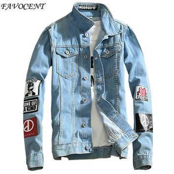 FAVOCENT Top Quality Denim Jackets Men Hip Hop Clothing long sleeve Street wear Jeans Jackets