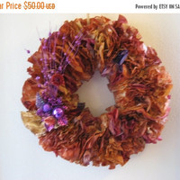 15% OFF STOREWIDE Sumptuous Wreath, Full Fluffy Wreath, Handmade Wreath, Paper Wreath, Coffee Filter Wreath, Brown Wreath, Door wreath, Hand