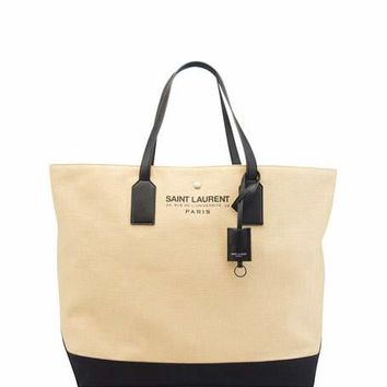 Saint Laurent Large Beach Raffia Shopping Tote Bag, Natural