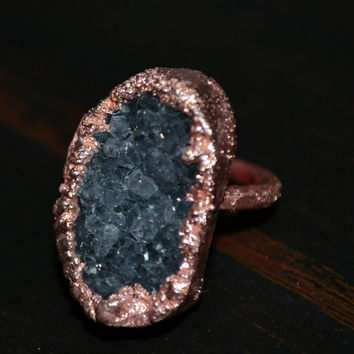Druzy Gemstone Ring- Cocktail Ring, Statement Ring, Mineral Ring, Stone, Stackable Ring, Handmade Engagement Ring, Natural Crystal,  D1006