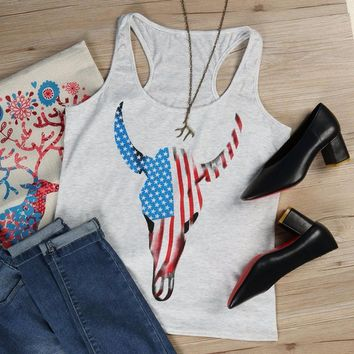Women Tanks American Flag Bull Skull Printed Tops O-Neck Sleeveless Cropped Top Loose Summer 2017 Sexy Girls Soft Casual Sexy