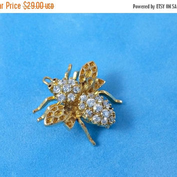 Vintage Bee Pin Sterling Silver Bee Jewelry Busy Bee Adorned Clear CZ's Bright Sparkling Little Bzzzzzzy Bee Looking for New Friend