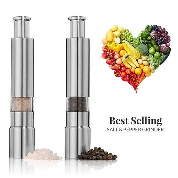 Salt and Pepper Grinder Set.Stainless Steel Salt and Pepper Mills Sleek Design Works Great With Peppercorns,Sea Salt. set of 2