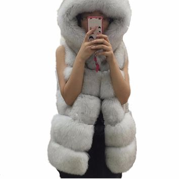 Hot Sale Thicken Women Faux Fur Vest Hooded Fur Vest Women Faux Fur Coats Jacket Fur Waistcoat