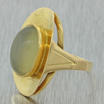 1960s Mid Century Vtg Modern 18k Solid Yellow Gold Cabochon Moonstone Ring