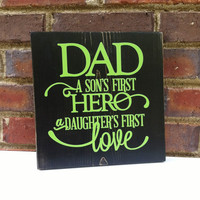 Father' Day Hero Dad  Sign Quote Distressed  Wall art  Home Decor Gift for Dad