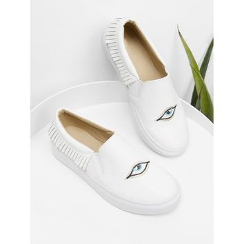 Eye Embroidery Slip On Sneakers