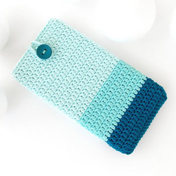 Teal Ombre iPhone 7 phone sock, Mint Google Pixel case, Sony Xperia XZ cover, Samsung s7 sleeve, Huawei P9 cozy, LG G5 pouch, Ombre HTC 10