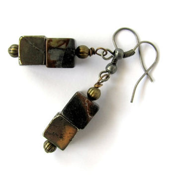Cube Earrings Pyrite Fool's Gold Jasper Stone Dangle Brass Cubes Wire Wrapped Eco Friendly Geometric Industrial Natural Jewelry by Hendywood