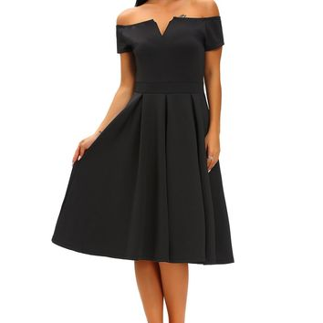 Chicloth Solid Black Thick Flare Midi Vintage Dress