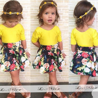 Multicolored Two Piece Girls Summer Dress