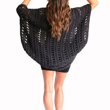 Loose Knit Poncho Beach Cover Up Cape Cardigan Shrug Boho // Beach Cape in Odessa // Many Colors Available