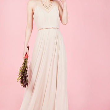 The Essence of Enchantment Maxi Dress in Taupe in 10