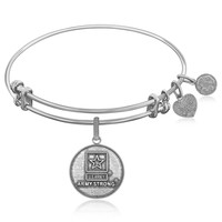 Expandable Bangle in White Tone Brass with U.S. Army Strong Symbol