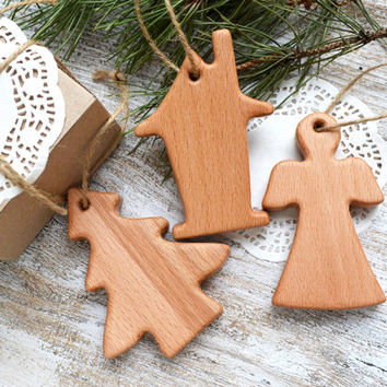 Wooden Christmas Pendants (set of 3) -  Christmas decor - Holiday decor - Christmas Tree - House - Angel
