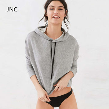 JNC Cropped Sweatshirt Grey Long sleeve Sweater Streetstyle Slouchy Hoodies Cute Workout Sports Jerseys For Women Gym Clothes