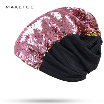 Hot Autumn Women Fashion Mermaid Hat Magical Reversible Sequin Cap Hood Dress Up Color Changing Hat Sexy Novelty Headwear