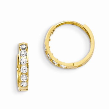 14k Madi K CZ Childrens Hinged Hoop Earrings