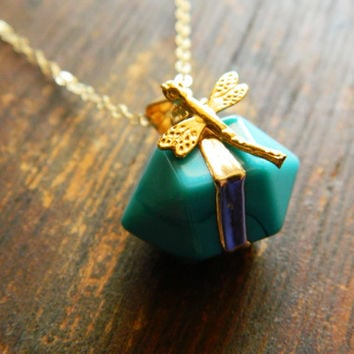 Turquoise and Dragonfly Pendant, Dragonfly, Dragonfly Images, Turquoise, Garden Theme
