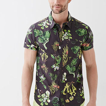 Botanical Print Collared Shirt