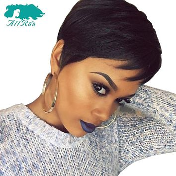 Short Human Hair Wigs With Baby Hair Bang Wig Brazilian Straight Hair Bob Wigs Non Remy For Women Natural Color
