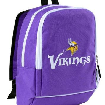 Minnesota Vikings White Name Logo Trim NFL Mini Purple Backpack Book Bag Tote