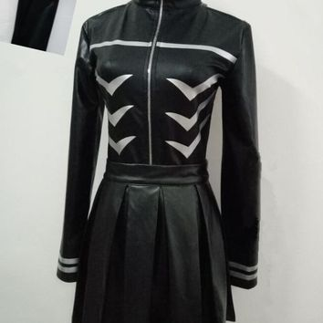 Cool Free Shipping Tokyo Ghoul Kaneki Ken Girl Uniforms Female Ken Kaneki Cosplay Costume Jacket + Skirt + StockingsAT_93_12