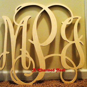 22 inch Wooden Wall Monogram Letters. Great for weddings, birthdays, gifts, nursery and home decor
