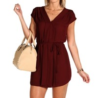 Burgundy Tie-at-waist Tunic