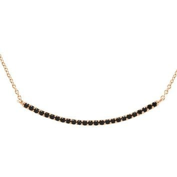 Loleen Black CZ Bar Rose Gold Pendant Necklace