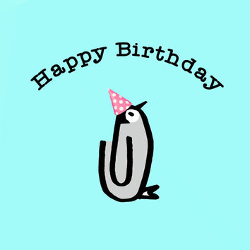Happy Birthday, Baby Penguin, Penguin Card, Baby Birthday