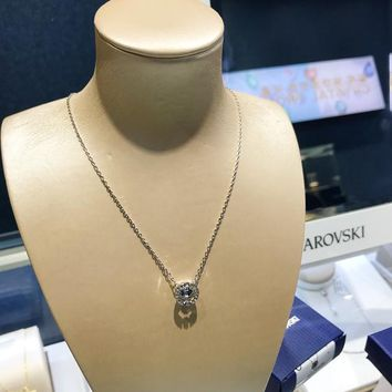 HCXX 19July 384 Swarovski Sparkling Dance Round pulsating crystal color necklace clavicle chain. 5279425
