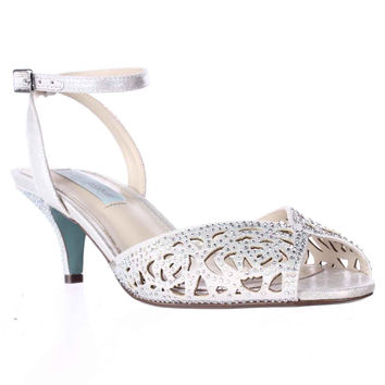 Blue by Betsey Johnson Raven Rose Cutout Sparkle Dress Sandals - Silver